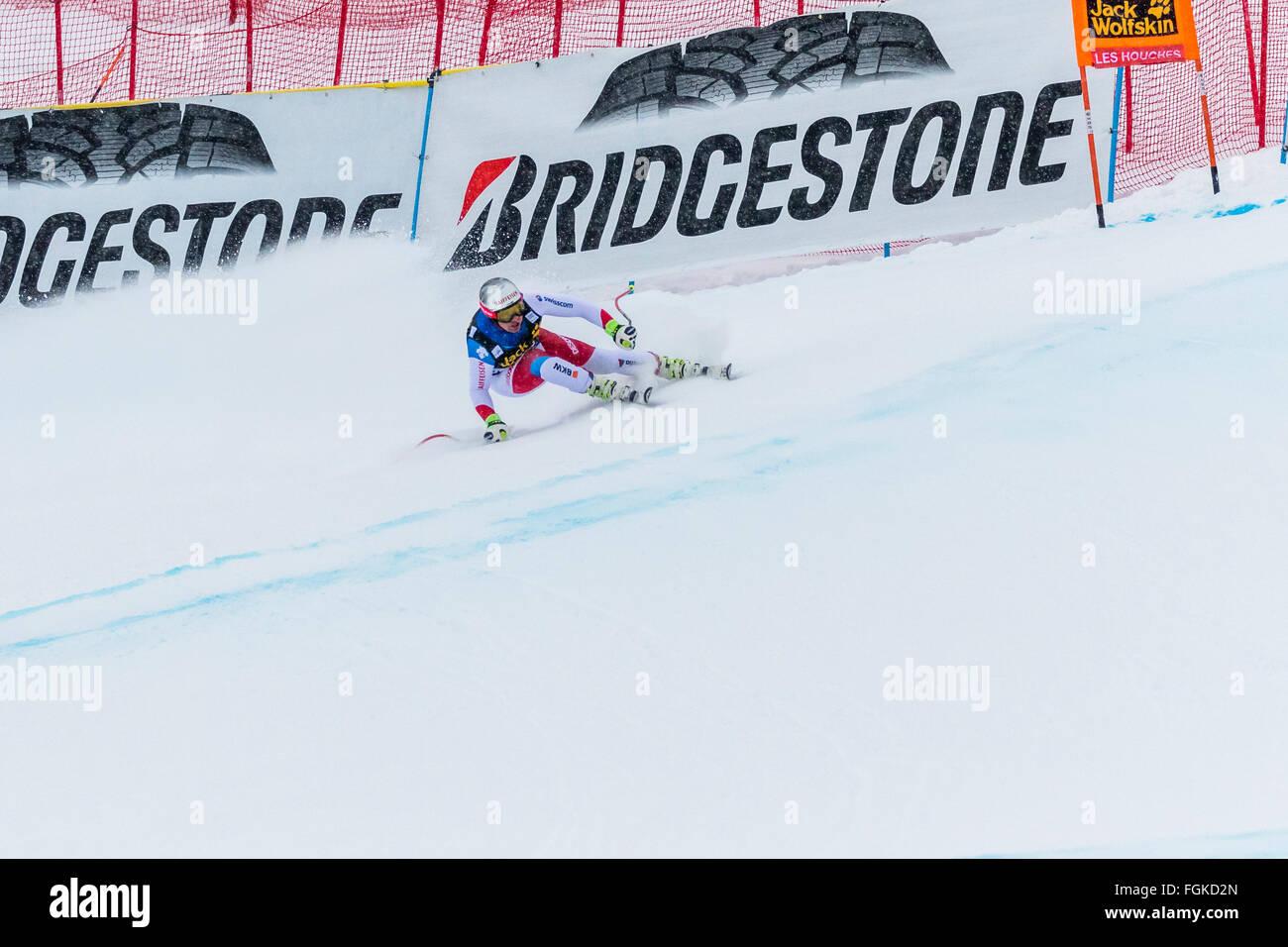 Chamonix, France. 20th February, 2016. Beat FEUZ of Switzerland skis to podium in 3rd place. The Audi FIS World - Stock Image