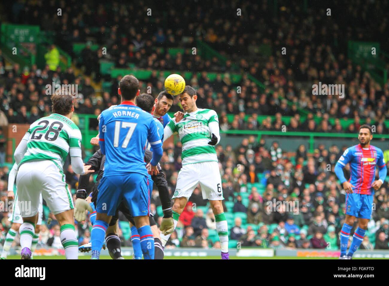 Celtic Park, Glasgow, Scotland. 20th Feb, 2016. Scottish Premier League. Celtic versus Inverness CT. Nir Bitton - Stock Image
