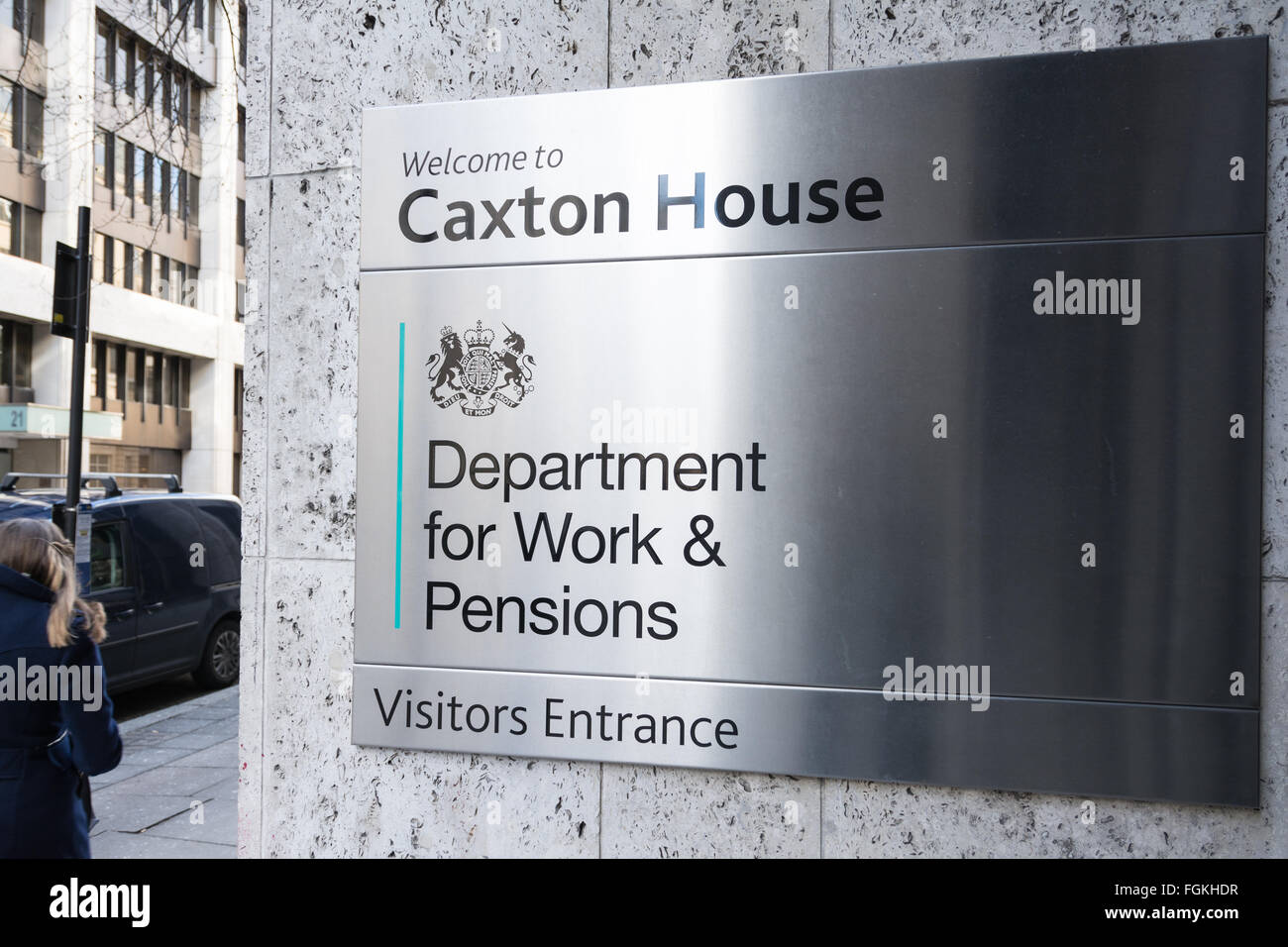 Sign outside the Department for Work and Pensions in London, UK - Stock Image