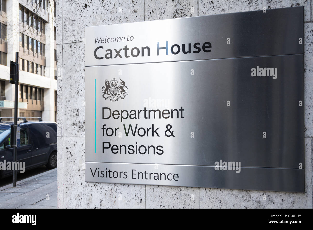 Sign outside the Department for Work and Pensions in Petty France, London, UK - Stock Image