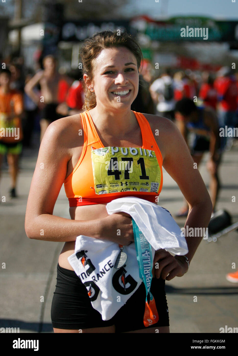 Feb. 20, 2016 - Tampa, Florida, U.S. - DOUGLAS R. CLIFFORD   |   Times.5K Open first female finisher Kailand Cosgrove, - Stock Image