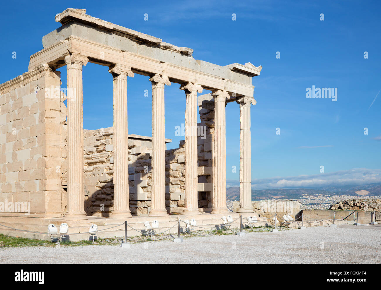 Athens - The Erechtheion on Acropolis in morning light. - Stock Image
