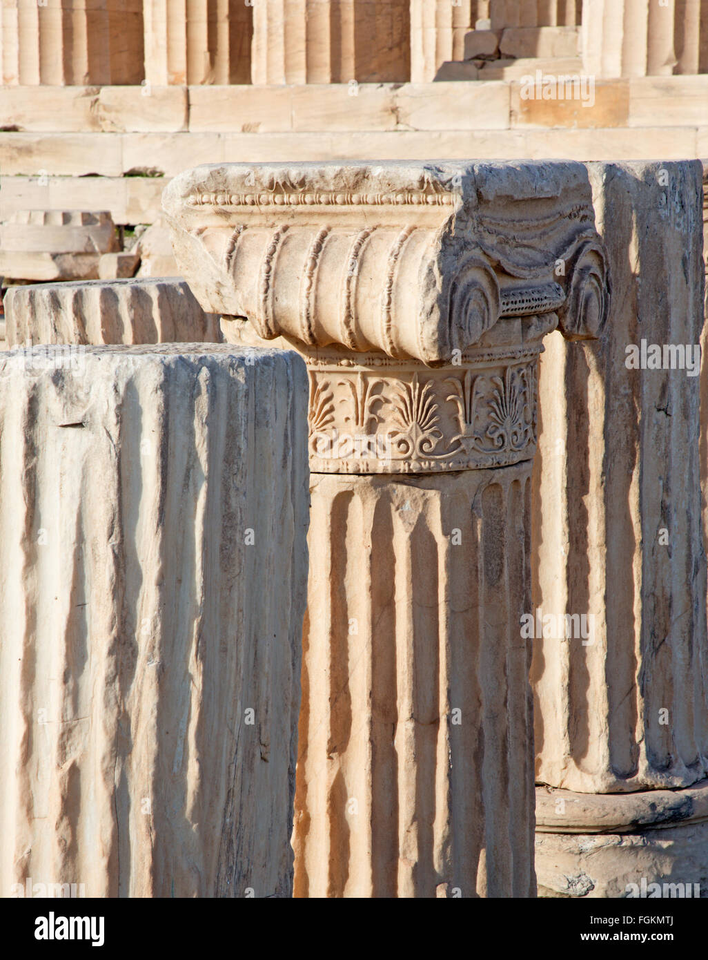 Athens - The detail of Ionic capital on the Acropolis. - Stock Image