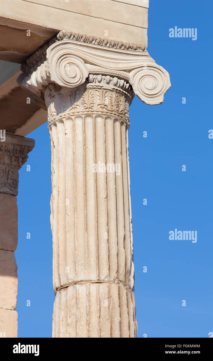 Athens - The detail of Ionic capital of Erechtheion on Acropolis in morning light. - Stock Image