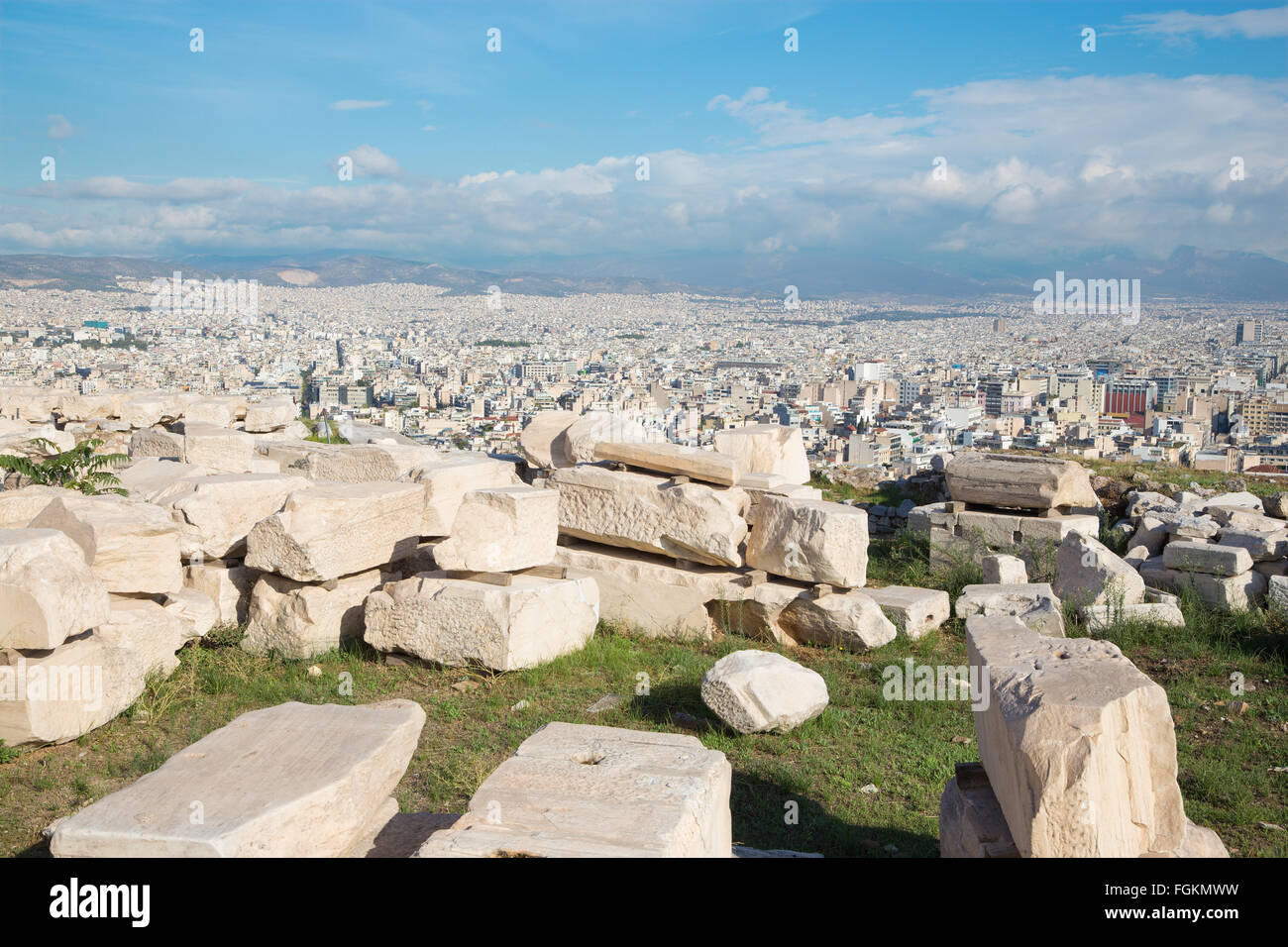 Athens - The outlook from Acropolis to north part of the city and the ruins. - Stock Image