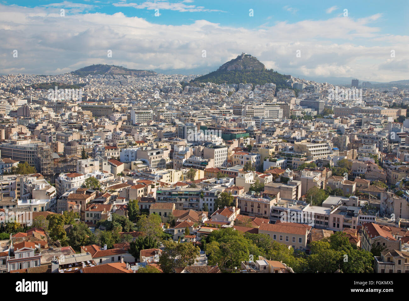 ATHENS, GREECE - OCTOBER 8, 2015: The look from Acropolis to Likavittos hill and the town. - Stock Image