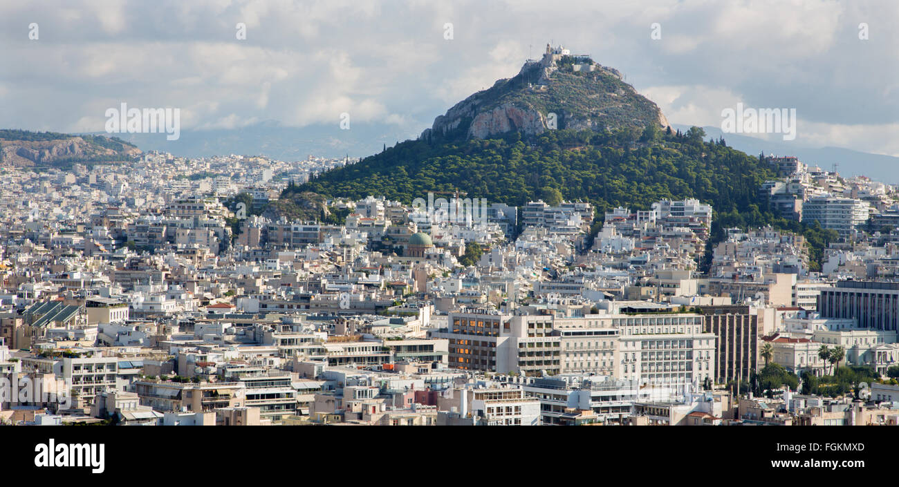 ATHENS, GREECE - OCTOBER 8, 2015: Outlook from Acropolis to Likavittos hill and the town. - Stock Image