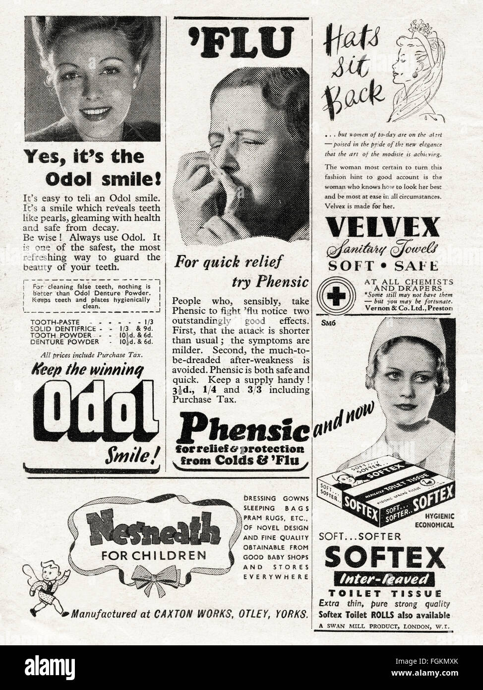 Original vintage adverts from 1940s. Advertisements dated 1947 advertising Odol Denture Powder, Phensic for colds - Stock Image