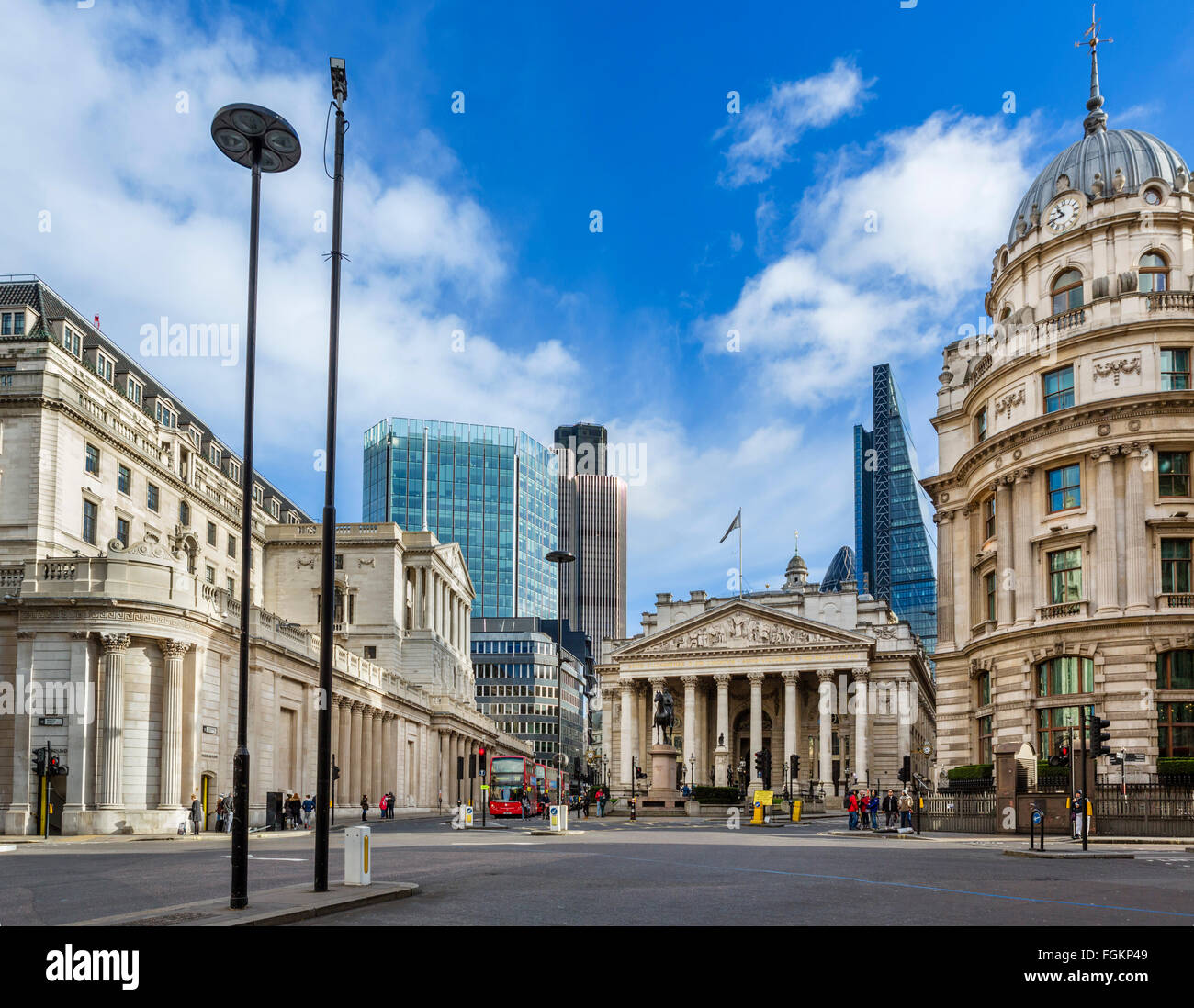 City of London (financial district) from Mansion House St with Bank of England (left) and Royal Exchange (centre), - Stock Image