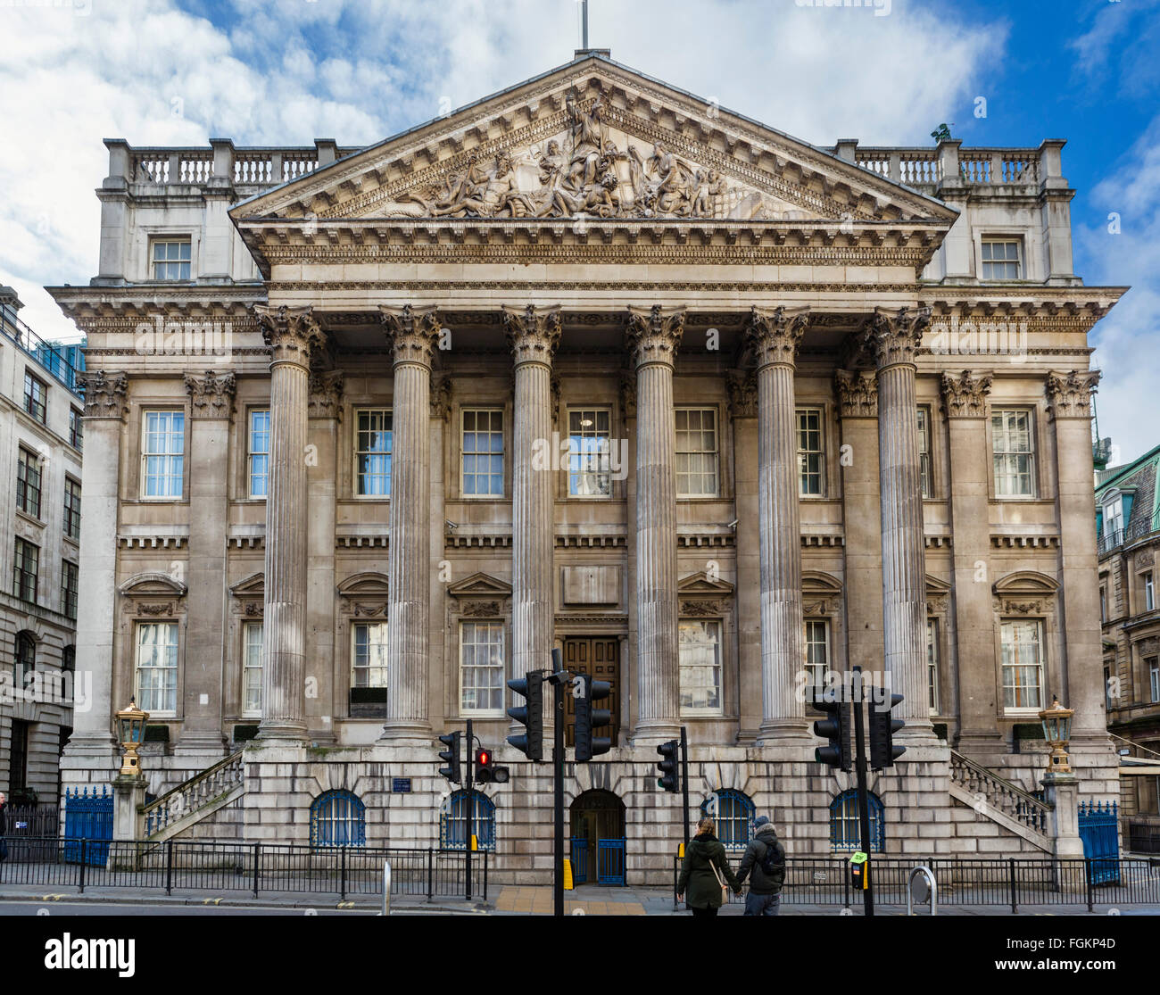 Mansion House, the official residence of the Lord Mayor of London, City of London, London, England, UK - Stock Image