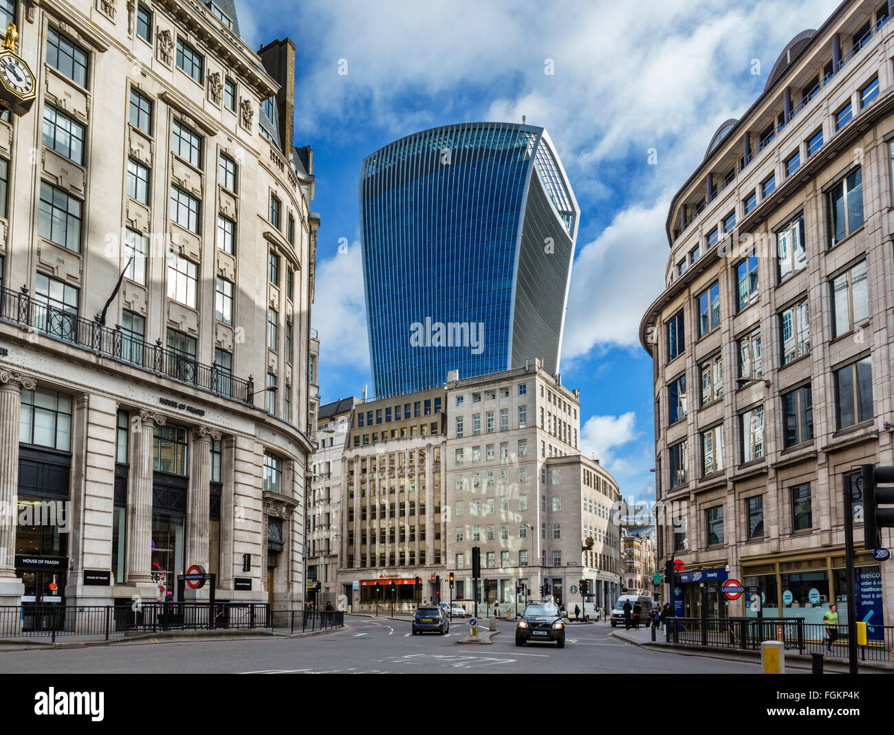The City of London from King William St looking towards the Walkie Talkie Building (20 Fenchurch St), London, England, - Stock Image