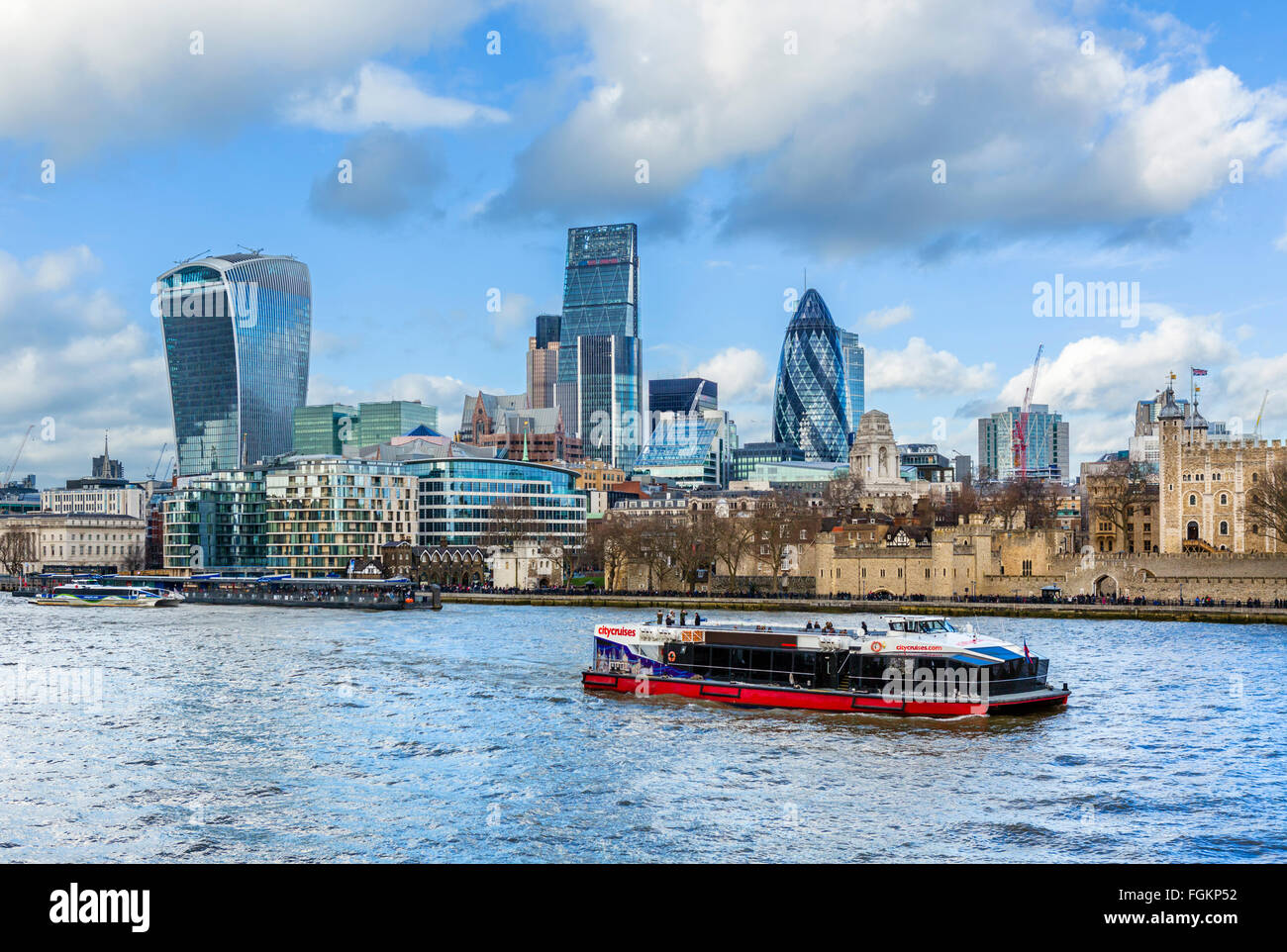 River Thames & City of London with Tower of London on right, Gherkin in centre and 'Walkie Talkie' on - Stock Image