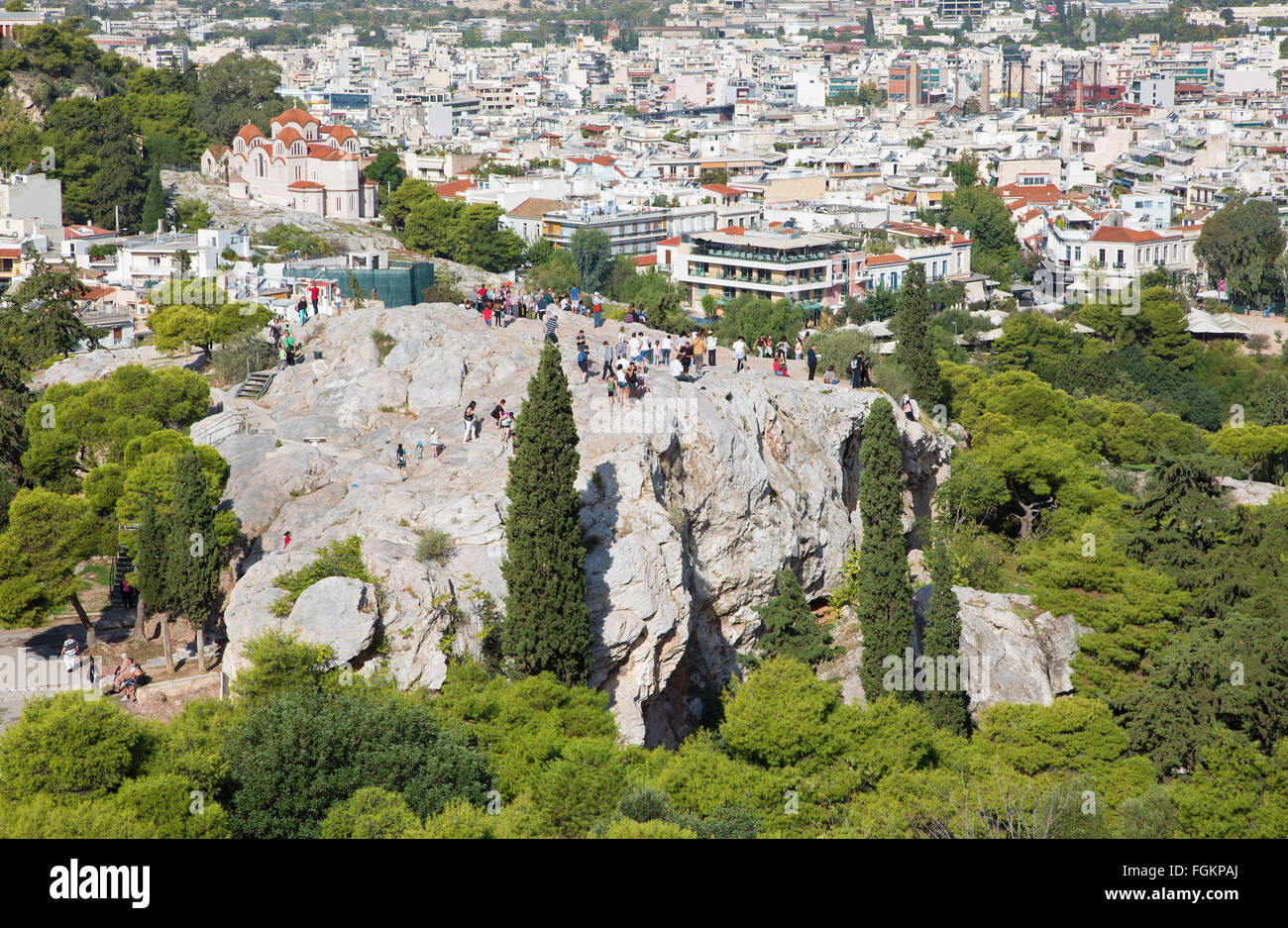 ATHENS, GREECE - OCTOBER 8, 2015: Outlook from Acropolis to Areopagus hill and to Agia Marina church. - Stock Image