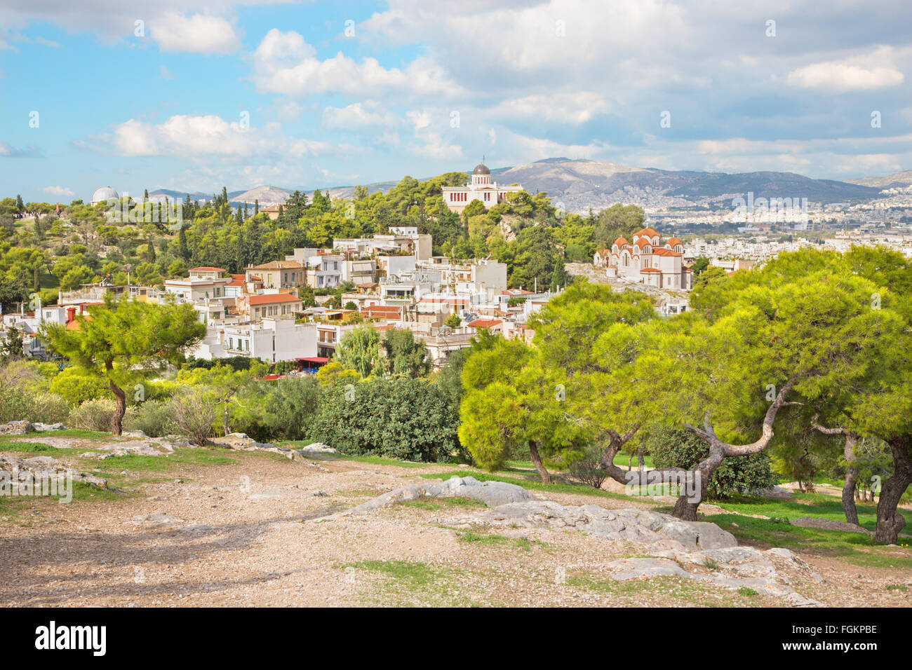 ATHENS, GREECE - OCTOBER 8, 2015: Outlook from Acropolis to Areopagus hill. - Stock Image