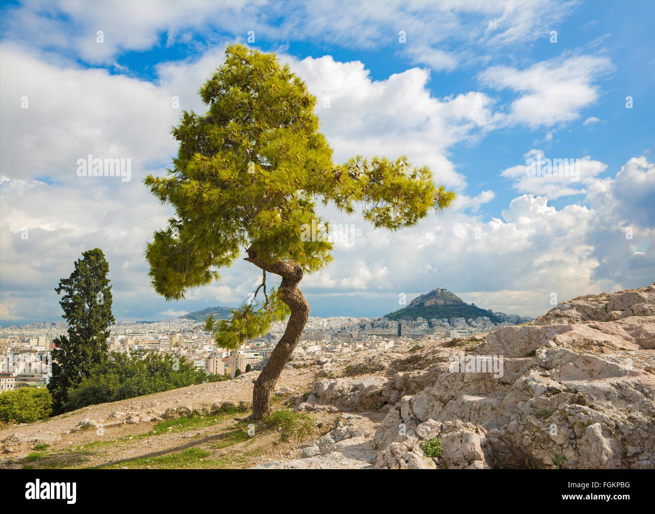 Athens - Outlook from Areopagus hill to Likavittos hill and the cloudscape - Stock Image