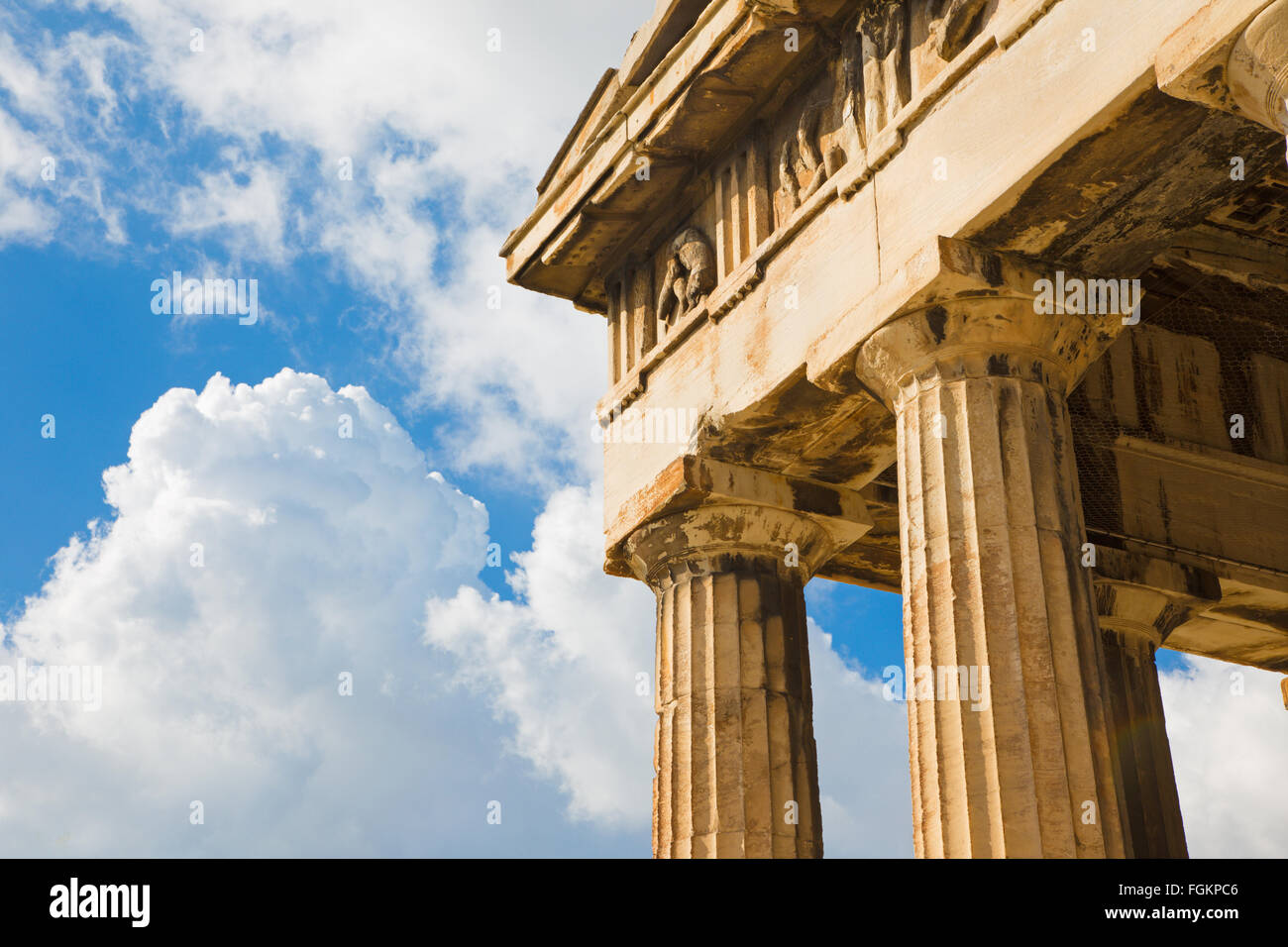 Athens - The detail of Temple of Hephaestus. - Stock Image