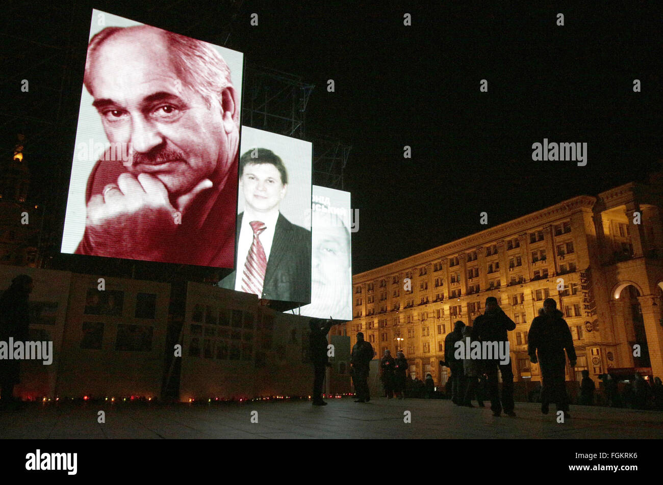 Jan. 21, 2016 - Large screens with the faces of Maidan activists, who were killed during anti-government protests - Stock Image