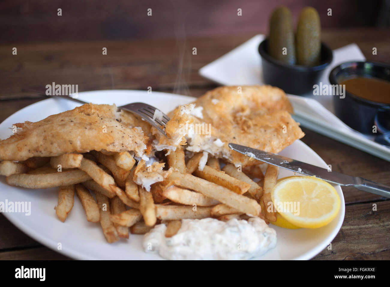 Chip Shop BXTN, Hip-hop themed fish and chip shop in Brixton, serving fresh fish and seafood dishes, South London, - Stock Image