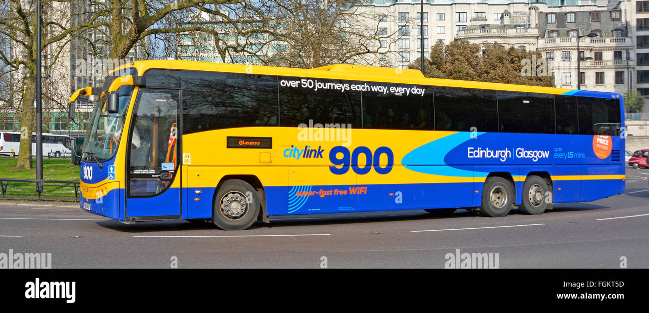 Scottish CityLink 900 long distance coach service London to Glasgow seen in Park Lane London England UK - Stock Image