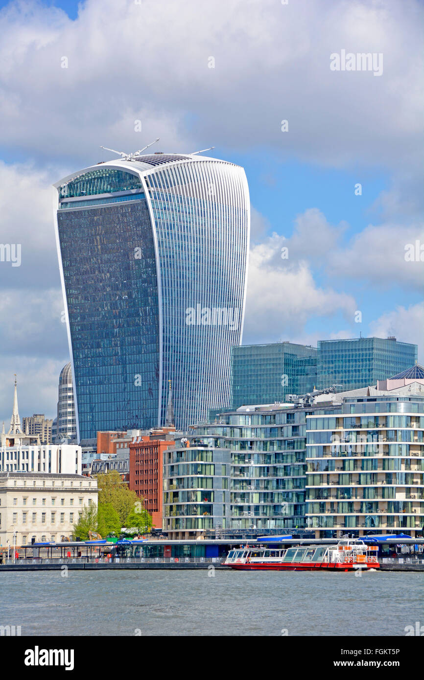 Walkie Talkie London skyscraper landmark building at 20 Fenchurch Street on City of London skyline tall office blocks - Stock Image