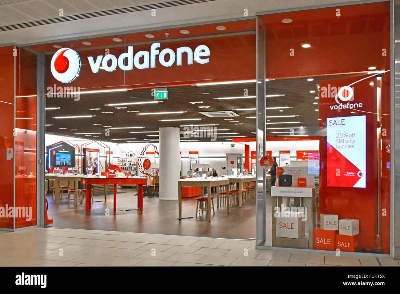 Vodafone Mobile Phone Store Shopfront Sign With Interior View Of Stock Photo Alamy