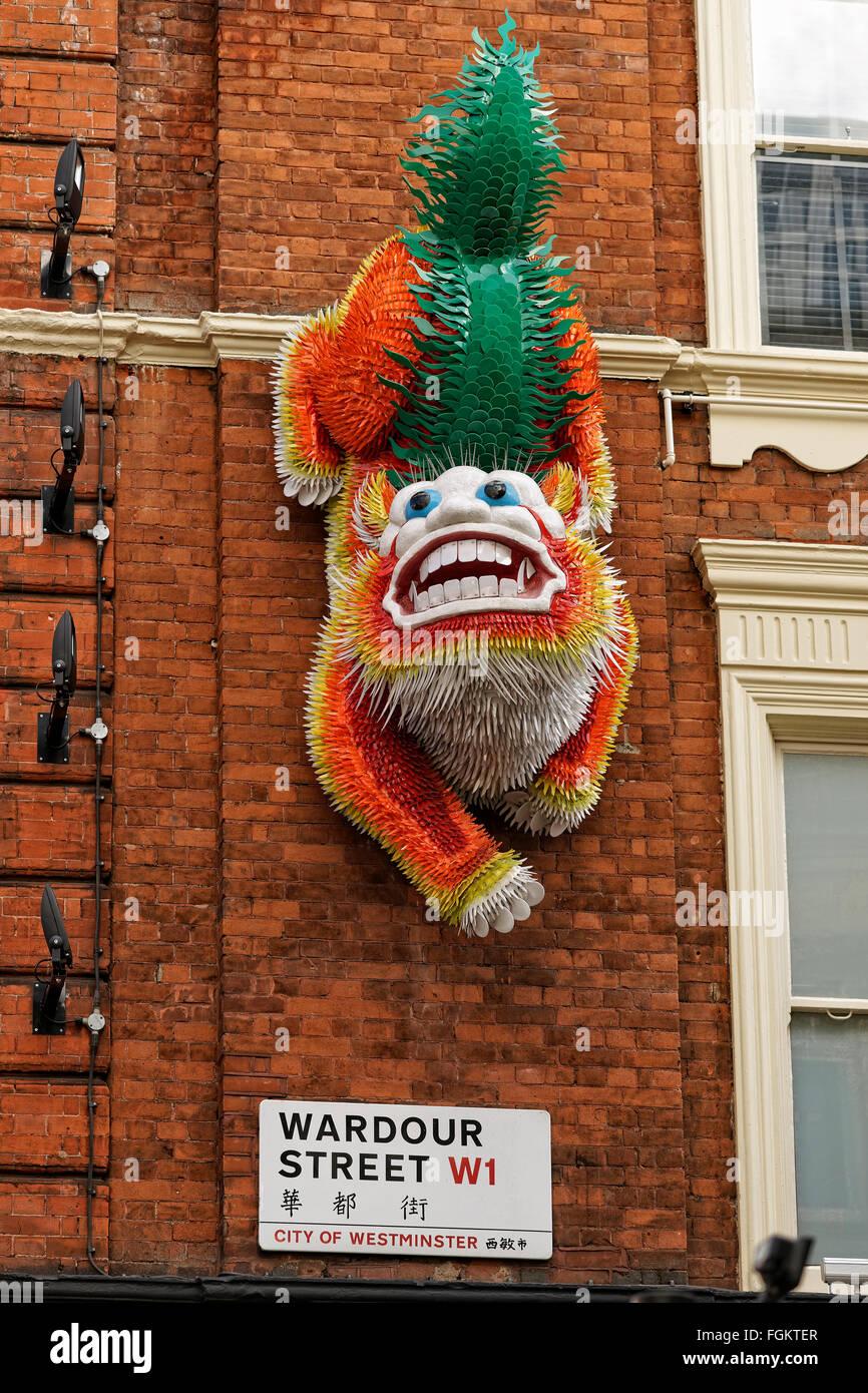 Chinese dragon in Wardour Street, Chinatown, London - Stock Image
