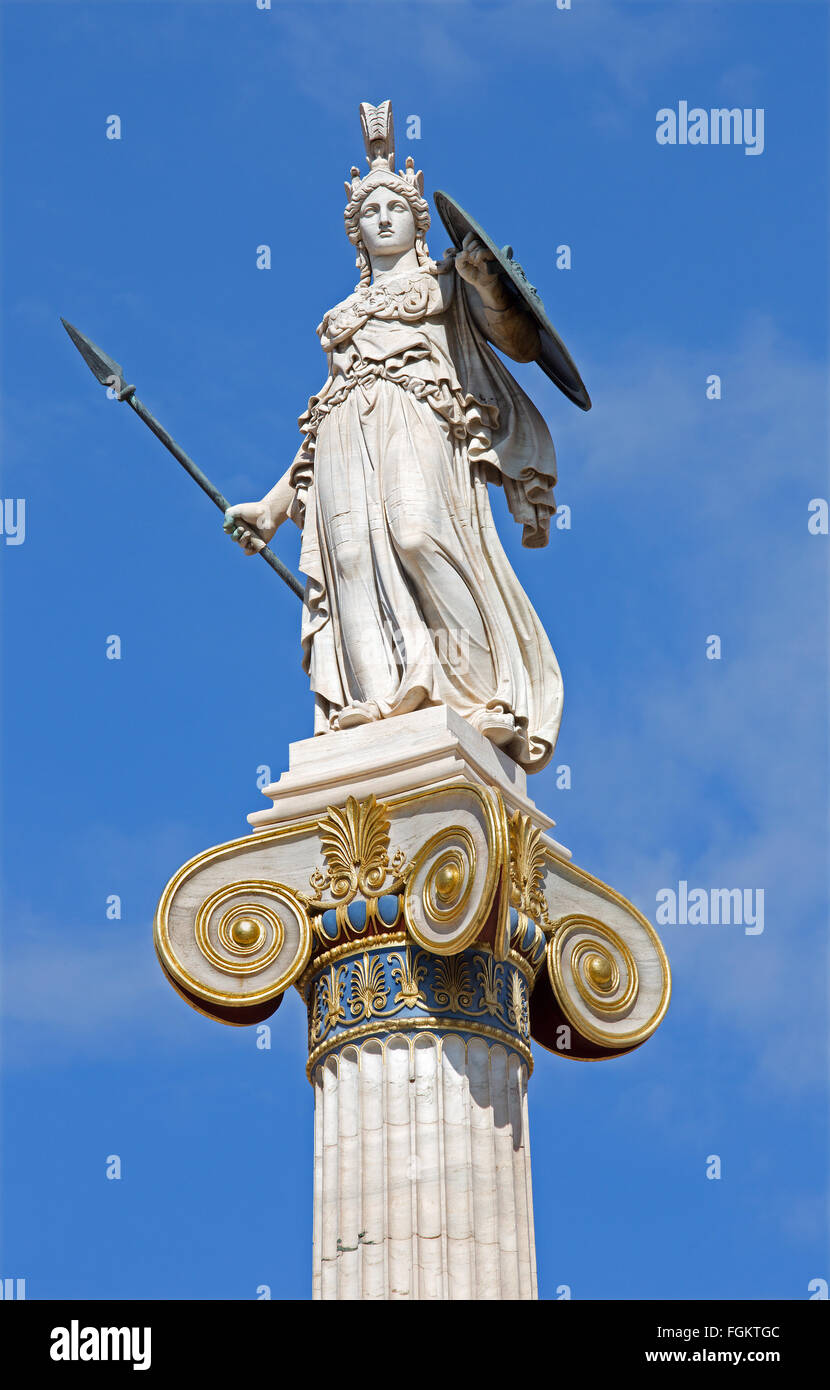 Athens - The statue of Athena on the column in front of The National Academy building by Leonidas Drosis (from 19. - Stock Image