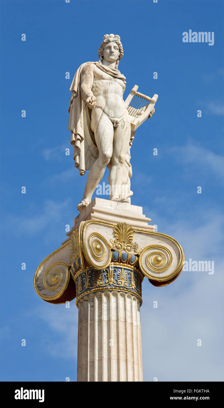 Athens - The statue of Apollo on the column in front of The National Academy building by Leonidas Drosis (from 19. - Stock Image