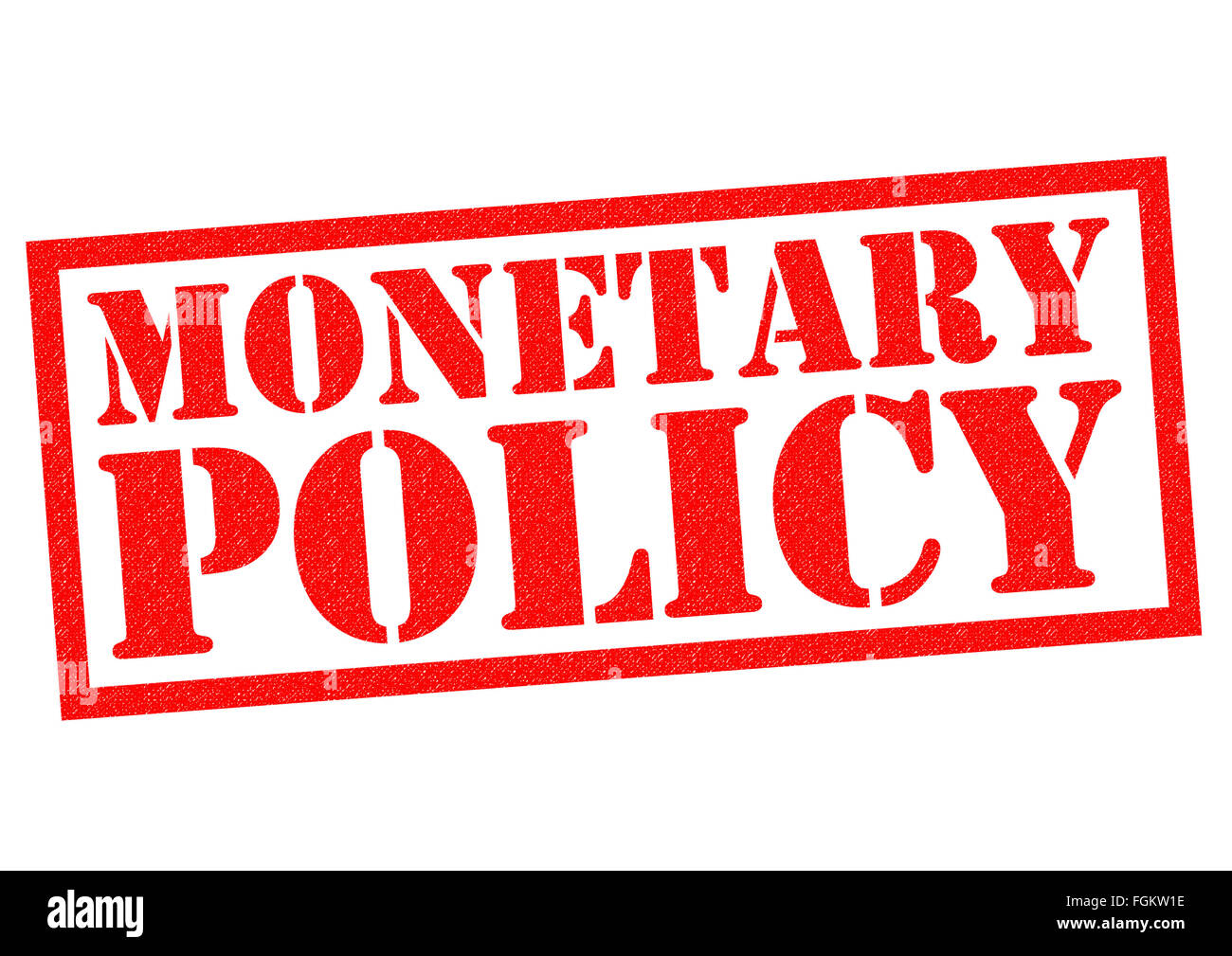 MONETARY POLICY red Rubber Stamp over a white background. - Stock Image