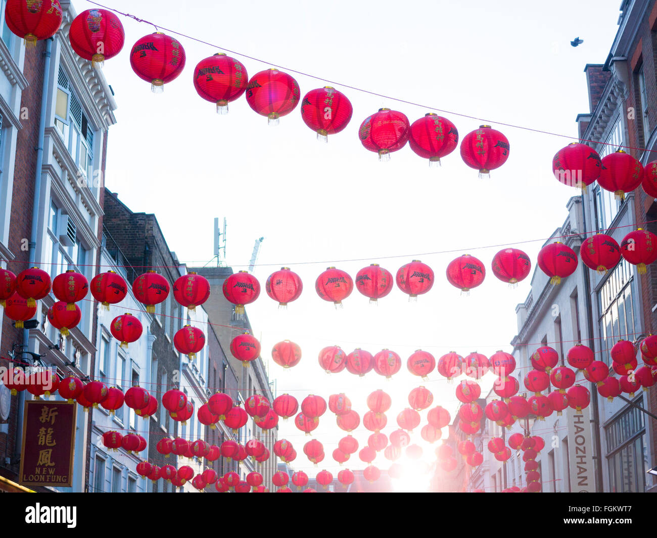 Lanterns from Chinese New Year in Chinatown - Stock Image