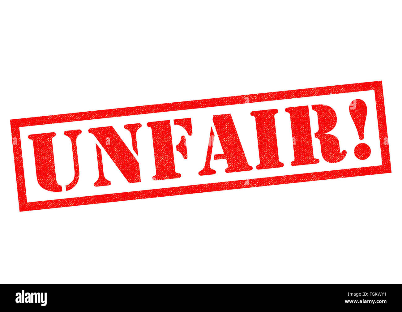 UNFAIR red Rubber Stamp over a white background. - Stock Image