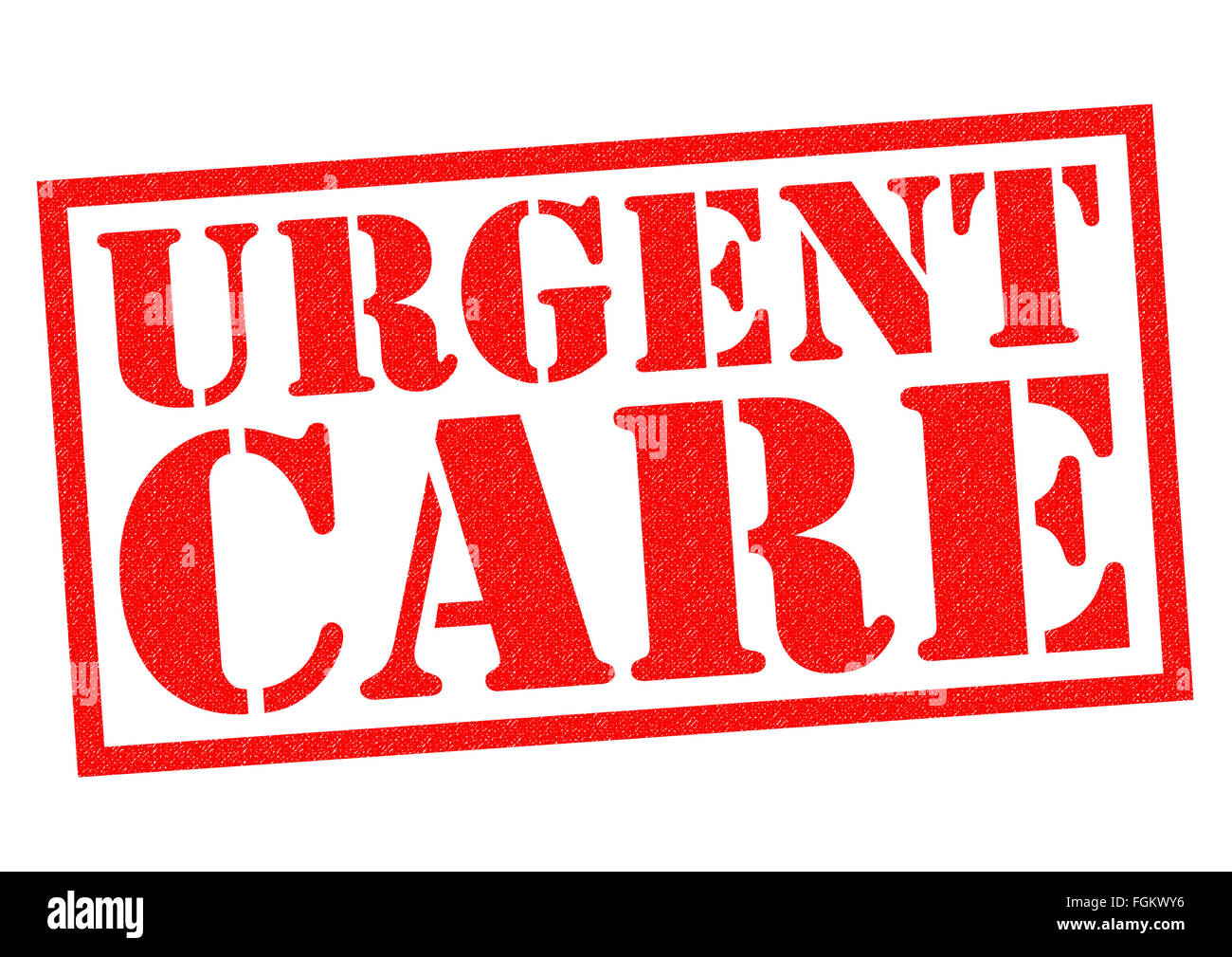 URGENT CARE red Rubber Stamp over a white background. - Stock Image