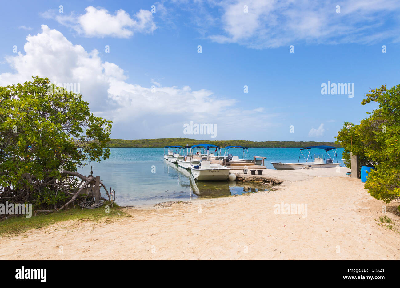Boats moored at a jetty on a sandy beach at Stingray City on the east coast of Antigua, Antigua and Barbuda, West - Stock Image