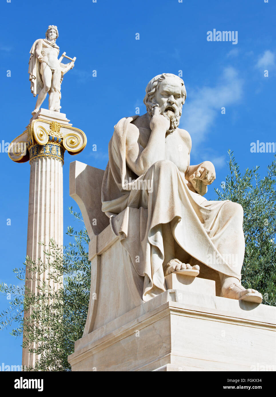 Athens - The statue of Socrates in front of National Academy building by the Italian sculptor Piccarelli (from 19. - Stock Image