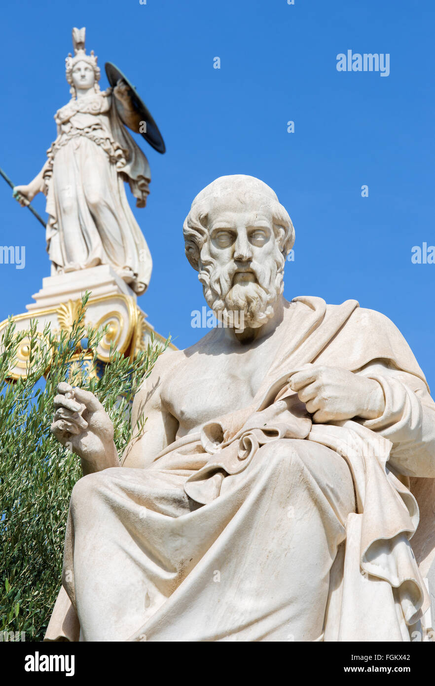 Athens - The statue of Plato in front of National Academy building by the Italian sculptor Piccarelli (from 19. - Stock Image