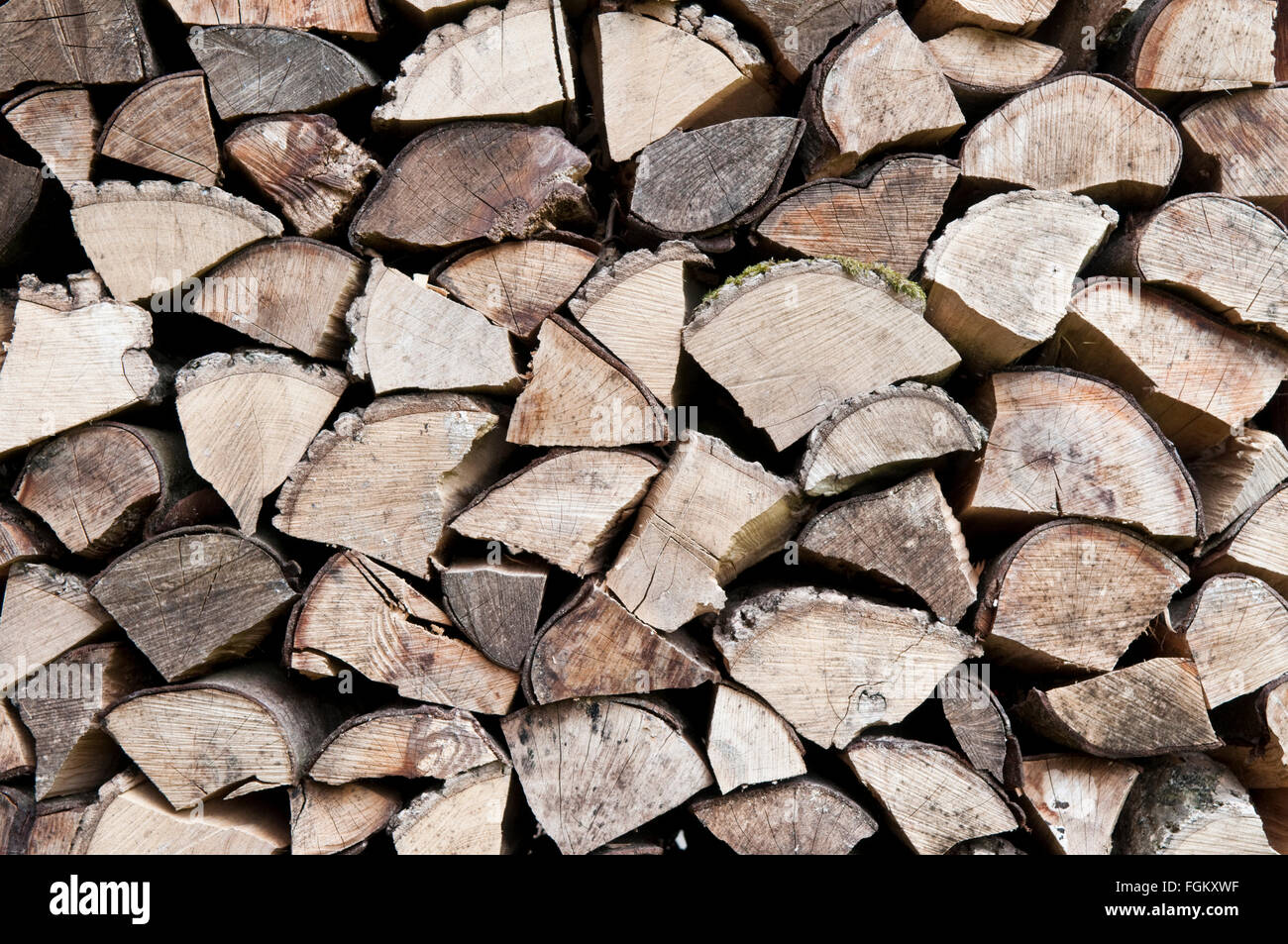 End on view of a pile of roughly chopped wooden logs - Stock Image