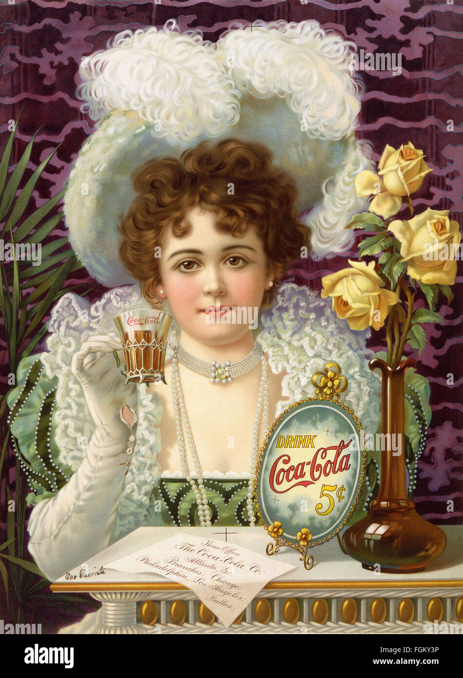 COCA-COLA lithographic advertisement about 1895.  The model is Hilda Clark (1872-1932) who appeared on many Coca - Stock Image