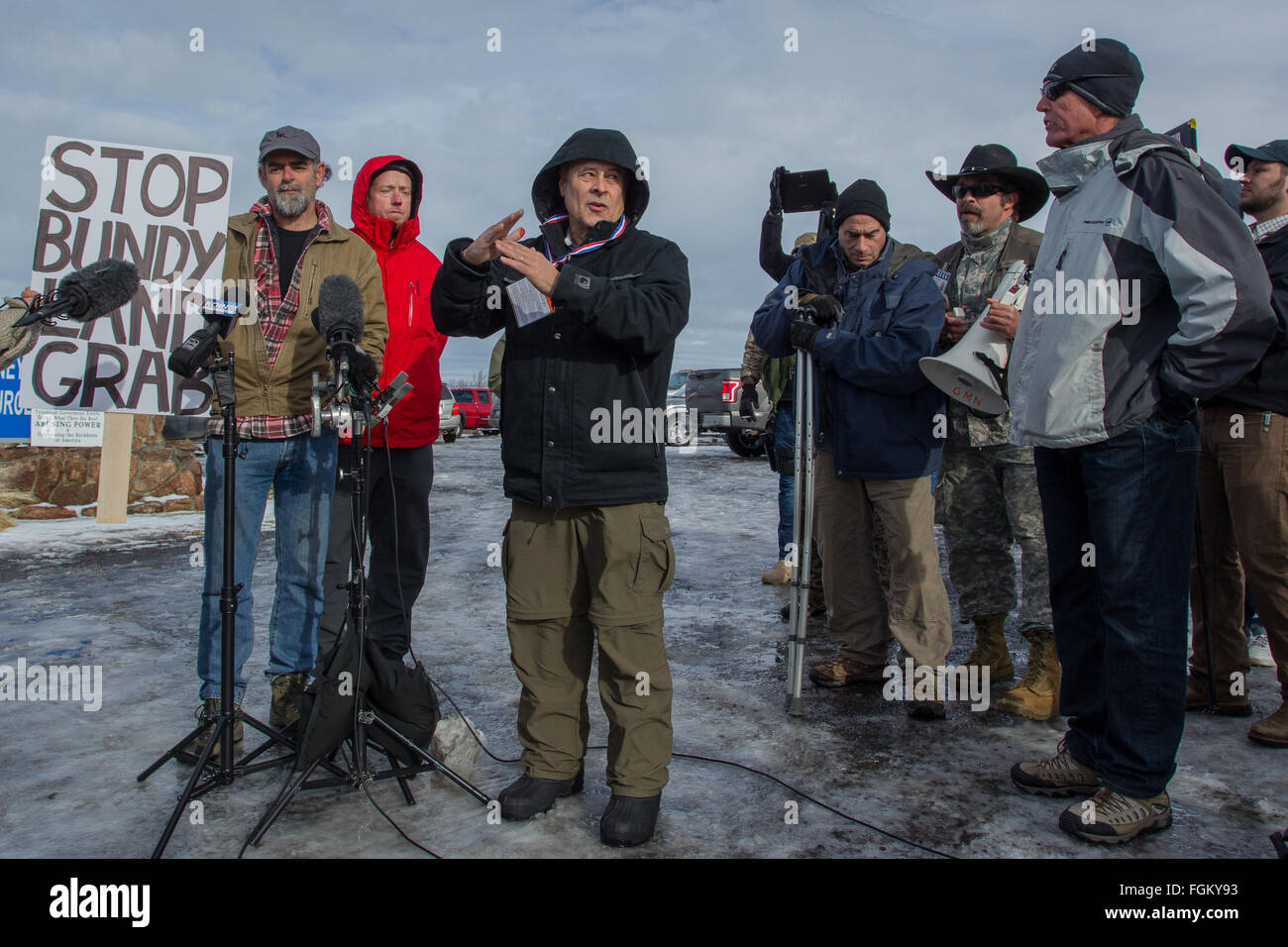 Joaquin Mariano Moreta Folch attempts to mediate during a confrontation between Center for Biological Diversity - Stock Image