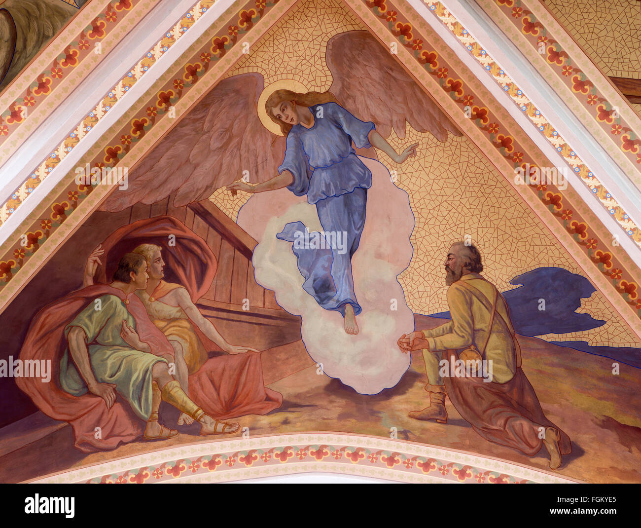 BANSKA STIAVNICA, SLOVAKIA - FEBRUARY 5, 2015: The Apparation of angels to shepherds, by P. J. Kern, (1910). - Stock Image
