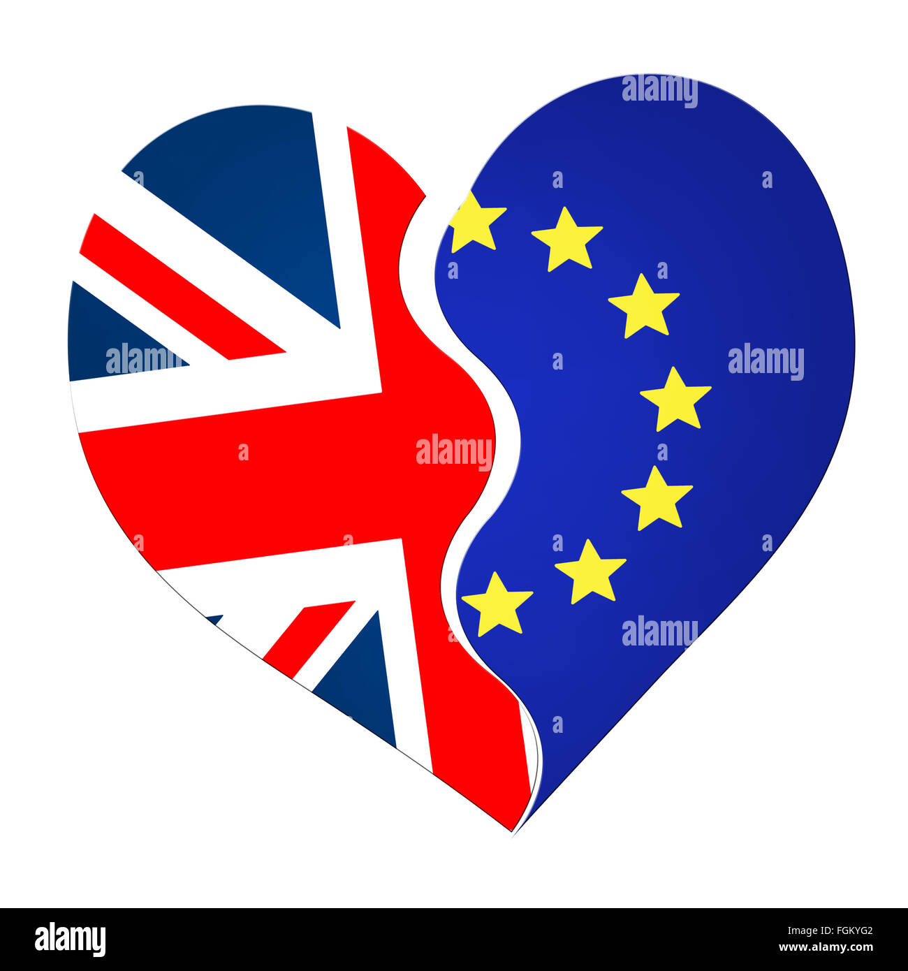 Potentially divisive split. UK EU referendum. - Stock Image