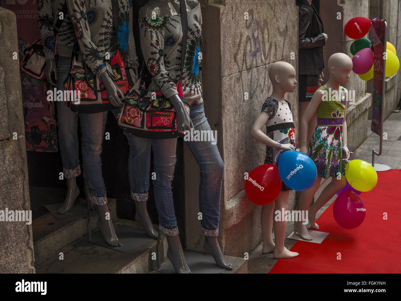 View of a models in a central store of Madrid city, Spain - Stock Image