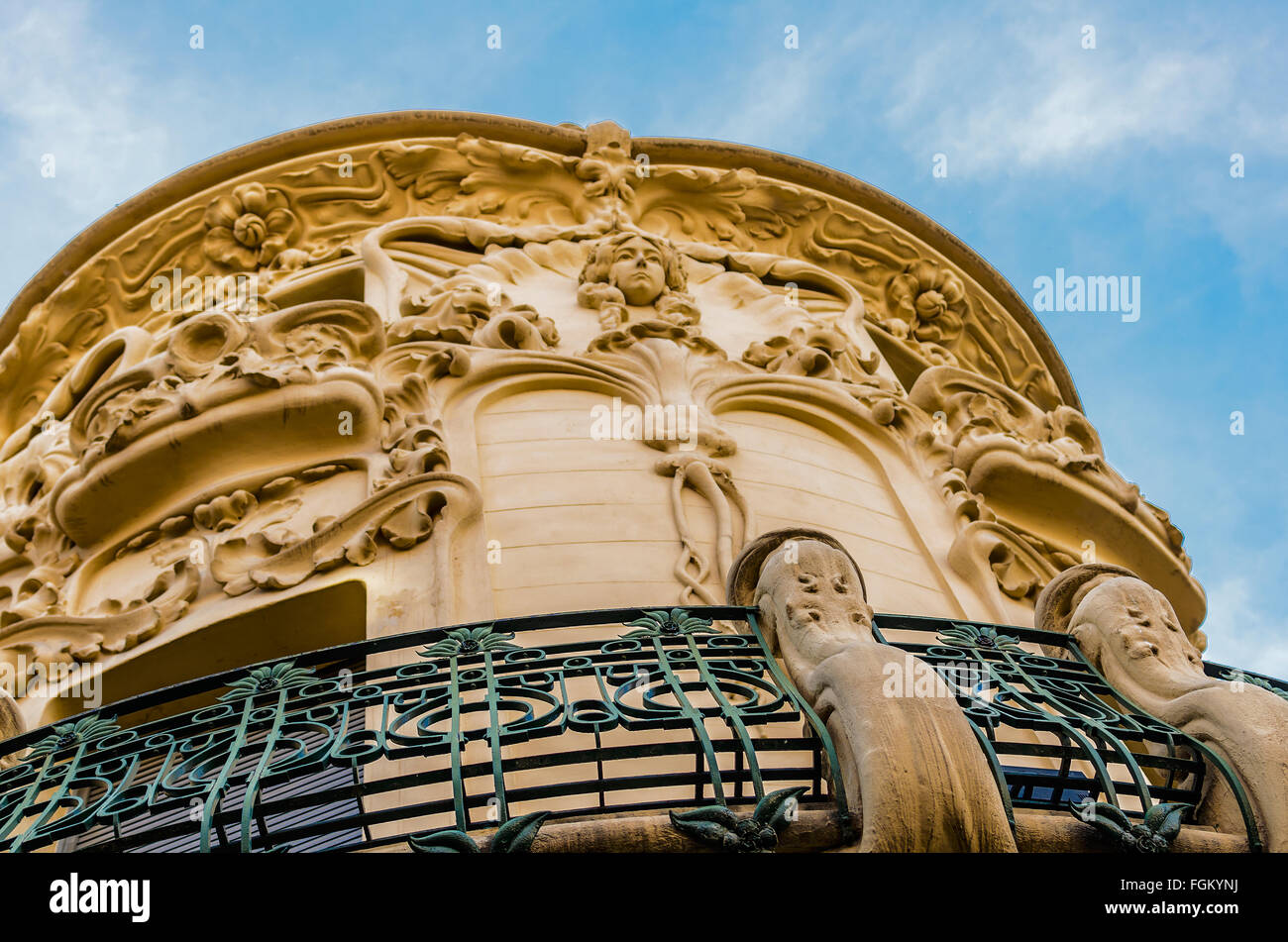 View of a front modernism style building in the center of Madrid city, Spain - Stock Image