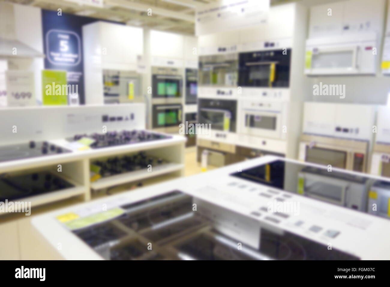 Blurred Kitchen Appliances Department At A Store