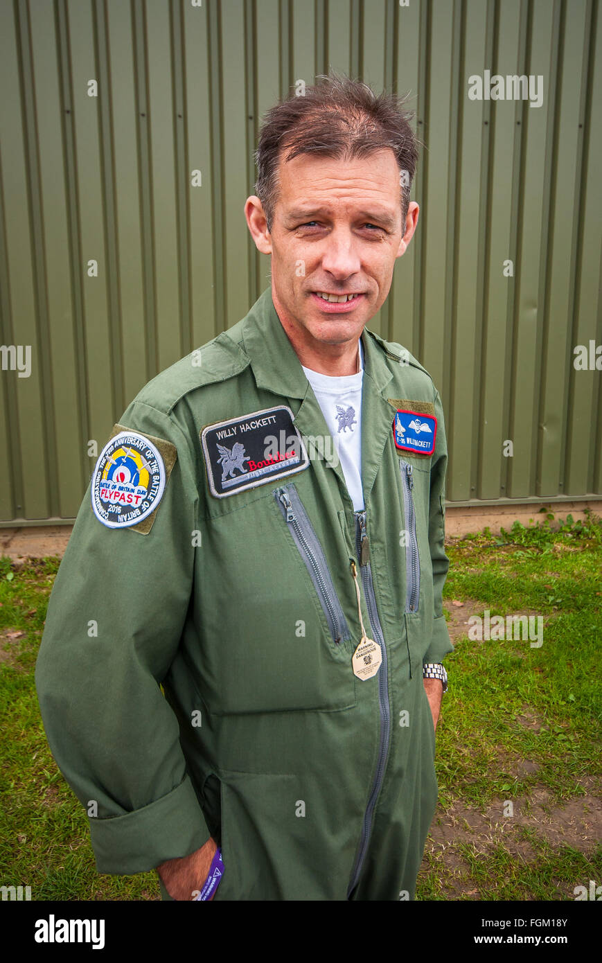 Willy Hackett MBE is an experienced air display pilot who previously flew with the Royal Air Force and Royal Navy. - Stock Image
