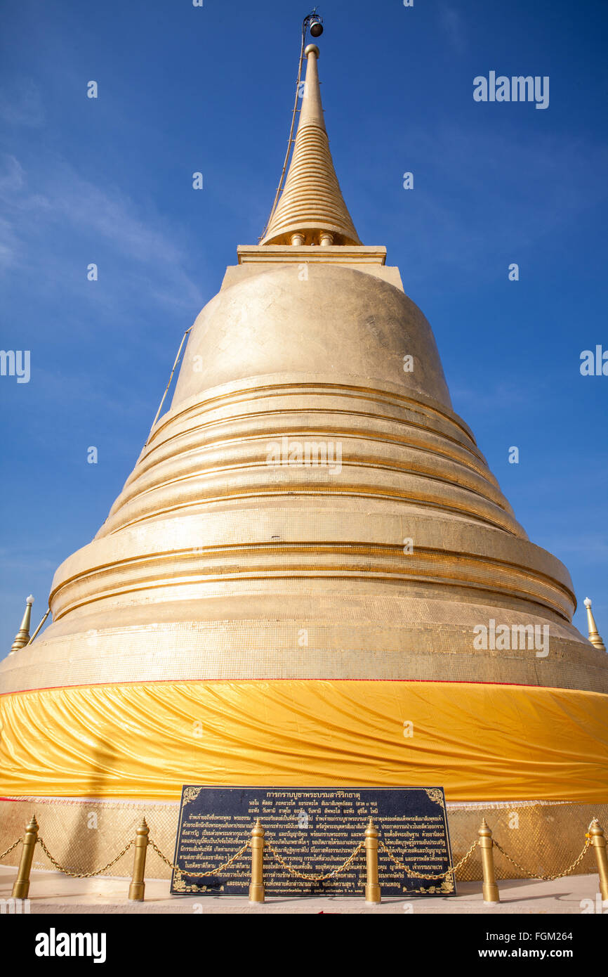 The Golden Mount (Wat Saket) - A golden stupa in Bangkok, Thailand - Stock Image