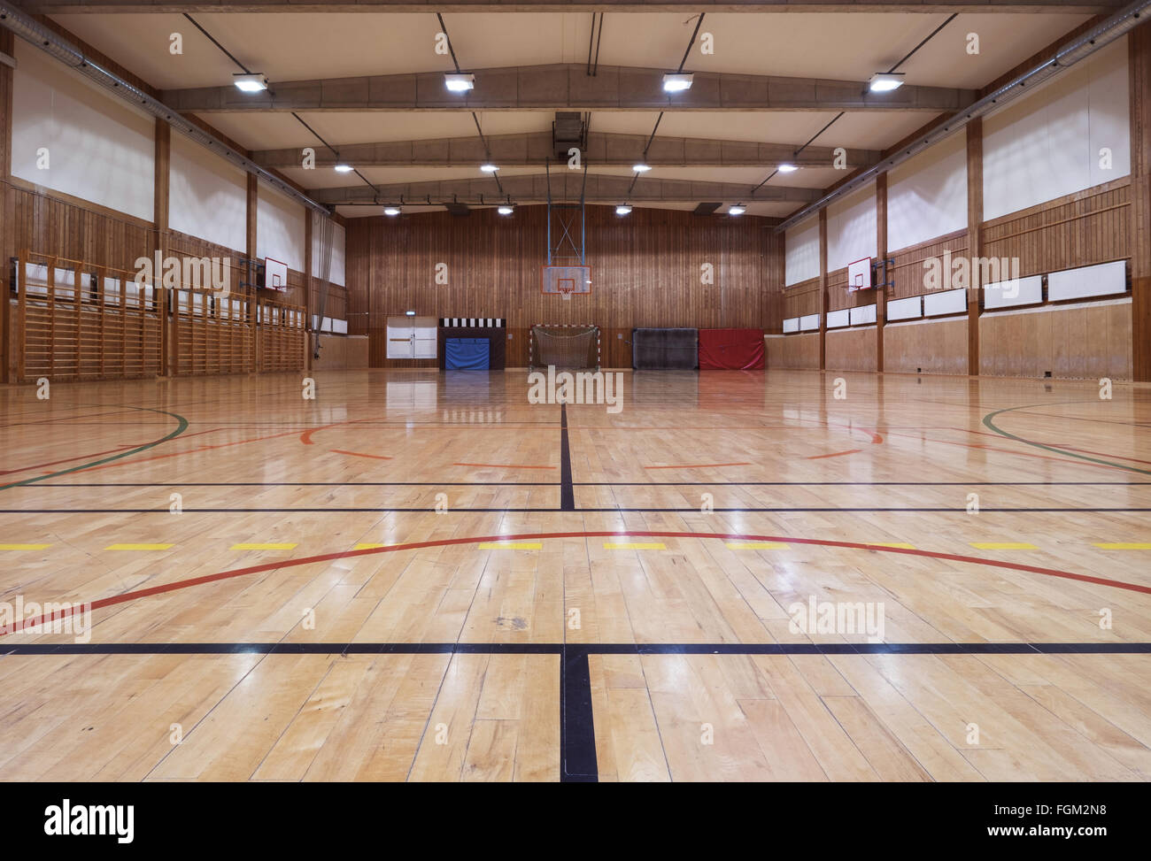 Interior of an old gymhall - Stock Image