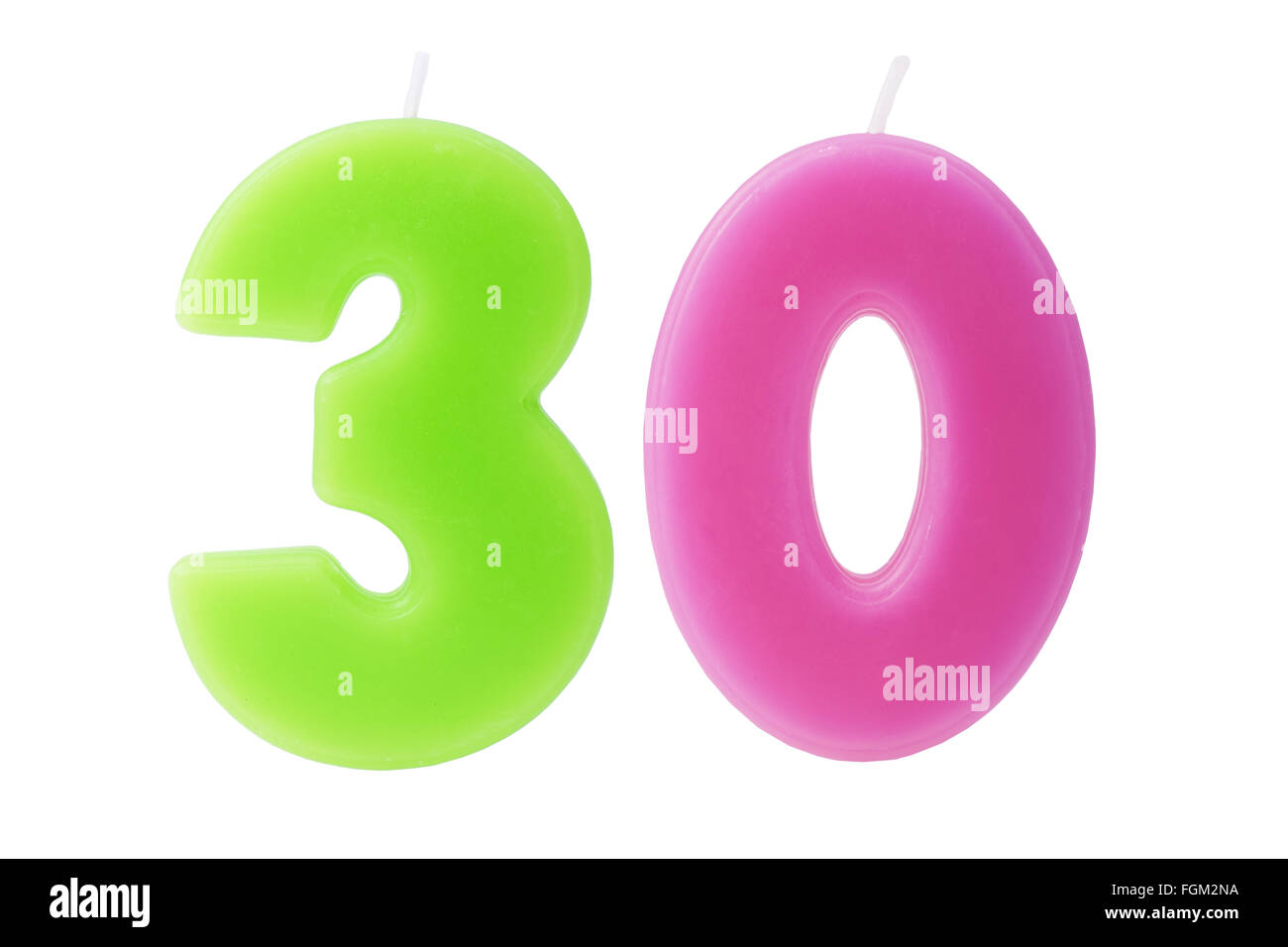 Colorful birthday candles in the form of the number 30 on white background - Stock Image