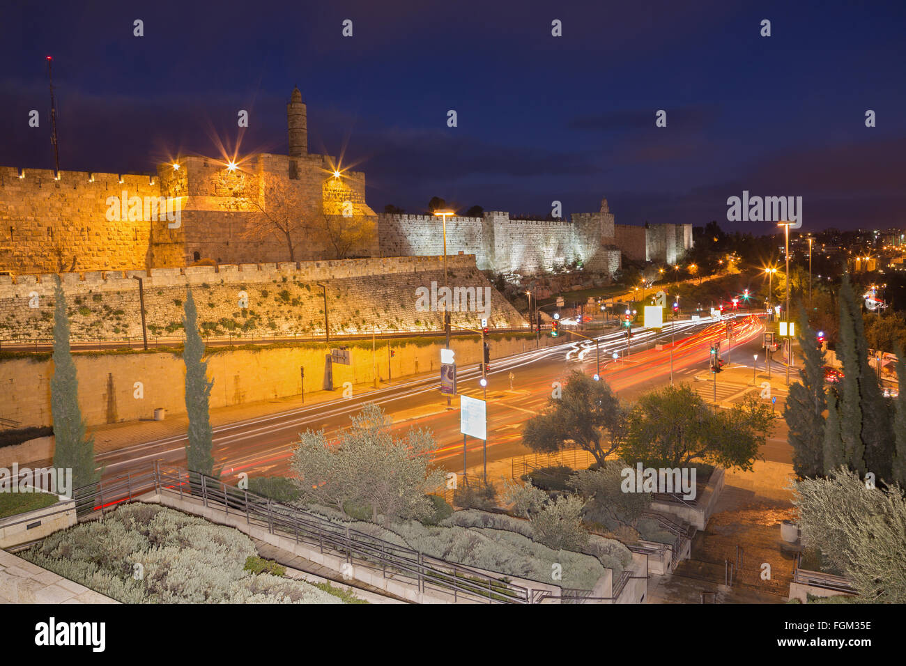 JERUSALEM, ISRAEL - MARCH 4, 2015: The tower of David and west part of old town walls at dusk - Stock Image