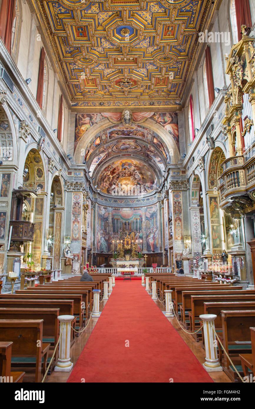ROME, ITALY - MARCH 27, 2015: The nave of church Santo Spirito in Sassia. - Stock Image
