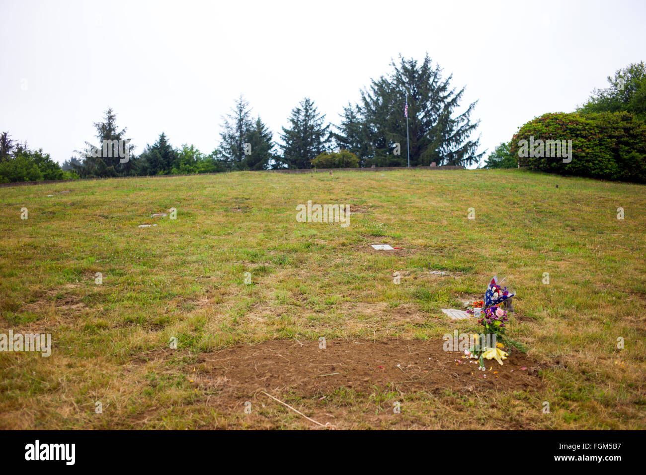This is my brothers grave. The grave of Douglas J. Lawrence. - Stock Image